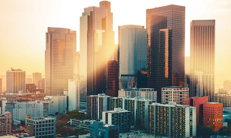 لس آنجلس افق مرکز شهر در غروب آفتاب